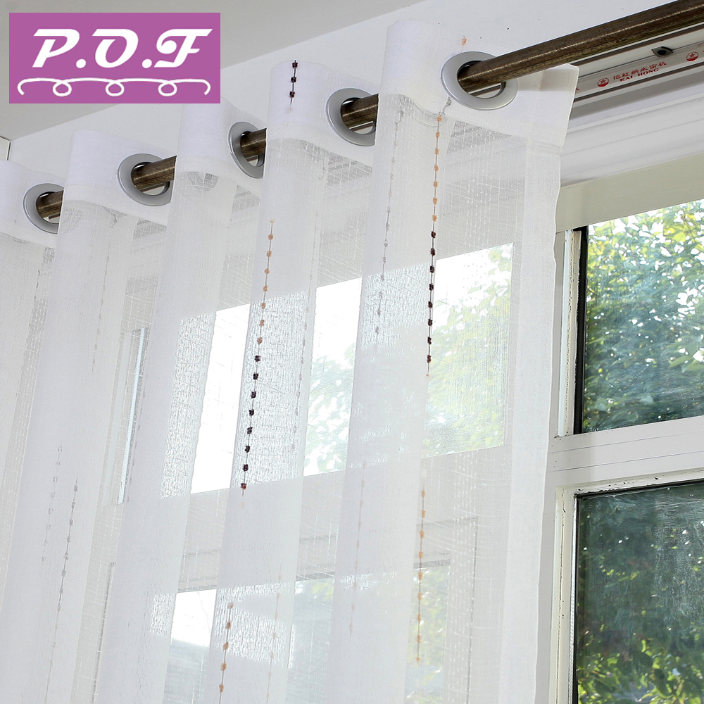 P.O.F Tulle&sheer&curtain For Living Room And For Bedroom Tulle Curtain White Curtain  New Style Custom Made Size Free Shipping