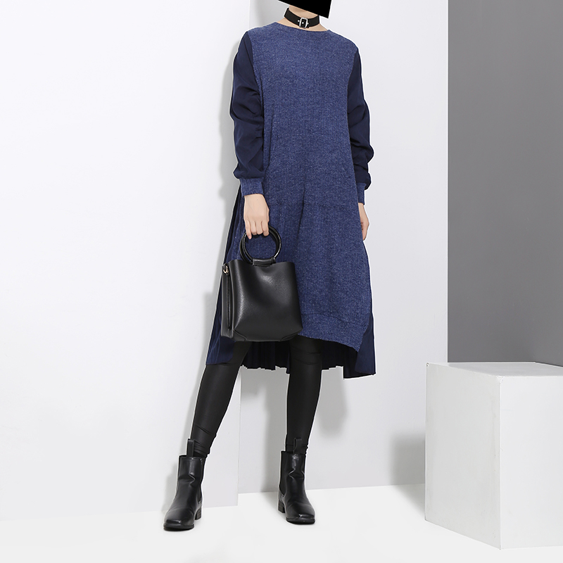 2020 Winter Woman Long Sleeve Blue Black Patchwork Sweater Dress Pocket Woolen Ladies Loose Casual Midi Dress vestido style 3030 Women Women's Clothings Women's Dresses cb5feb1b7314637725a2e7: 3030 Black|3030 Blue