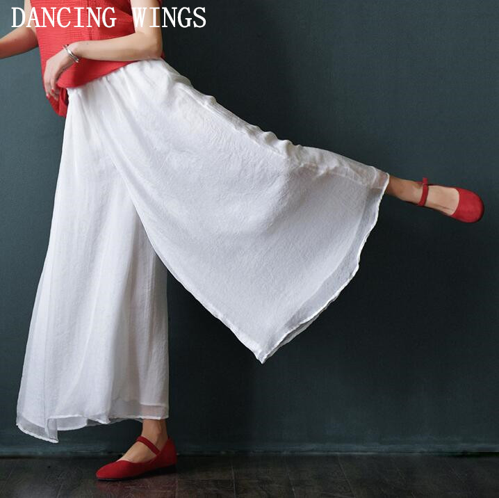 Elastic Waist Women   Wide     leg     Pant   Trousers Solid White Loose Casual Summer   Pants   Skirt