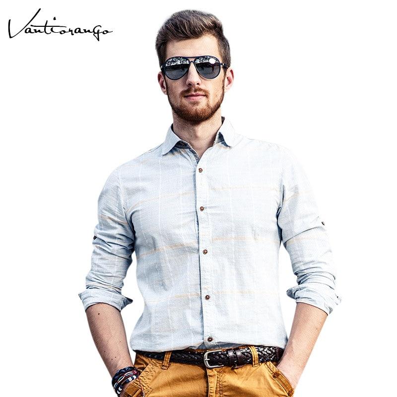 Vantiorango Men's Casual Blue Turn-down Collar Full Sleeve Plaid Shirt Shitable Fitness Comfort Slim Male Shirts JYY0115