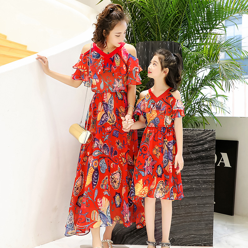 2018 Slim Long Dress Mom Daughter Chiffon Dress Happy Family Matching Dress Mother Daughter Clothing Summer A Line Long Dress ...