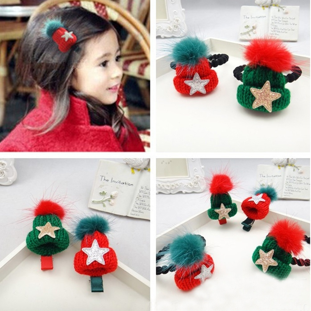 1 pcs Fashion Style Cute Women Elastic Hair Ties Hair Clip Band Ropes Ring Holder Knitted Hat Shaped