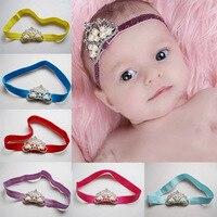 New Fashion Elastic Headbands 1 Pcs Pearl Crown Hairband Baby Hair Accessories Princess Baby Girl Children