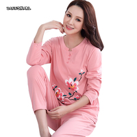 Autumn Winter Pure Cotton Two piece Women's Pajama Sets Night Leisure Long Sleeve Woman Nightgowns Home Pyjama Plus Size M XXXL