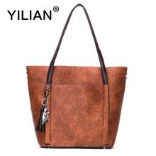 YILIAN Solid Charm Handbags for Women Tassel Fashion Totes Big Casual Tote Bags PU Leather Shoulder 801-1