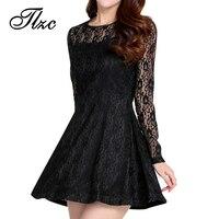 TLZC Sweet Lady Black Dress A Line Style Mini Dress Size S 2XL Solid Color Women