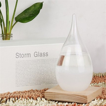 Weather Forecasts Bottles With Wood Base Waterdrop European Style Unique Gifts Glass Storm Crafts Tabletop Decoration Miniatures