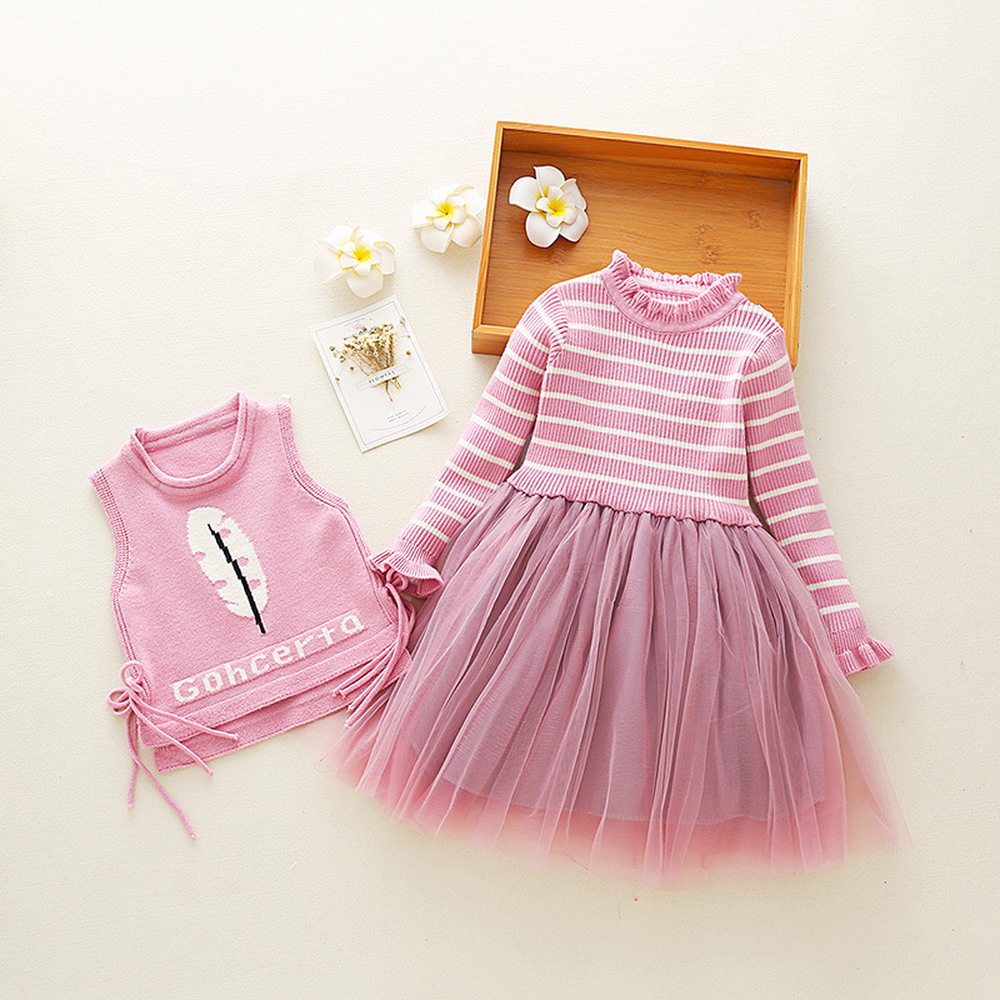 Baby Girl Dress Suit Spring Autumn Knit Vest+Striped Dress 2pcs/set Children's Costumes Sweet Baby Clothing for 3-11 Years CA377 u back striped knit dress