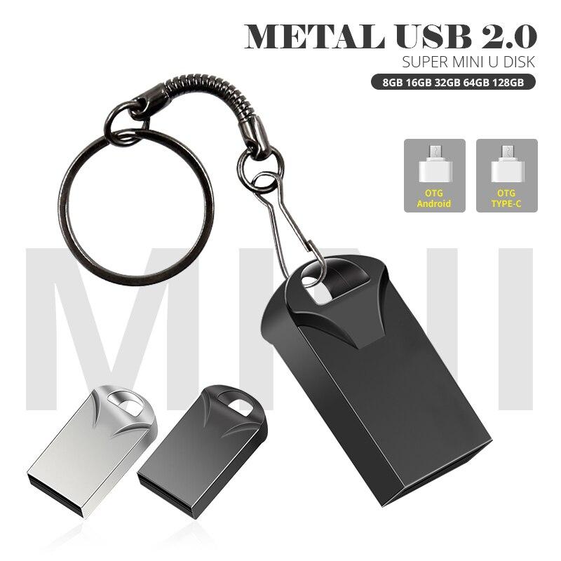 MINI Memory Stick 8GB 16GB Pen Drive 32GB 64GB USB Flash Drive 128GB Pendrive Cle USB 2.0 Gift OTG Adapter With Key Ring