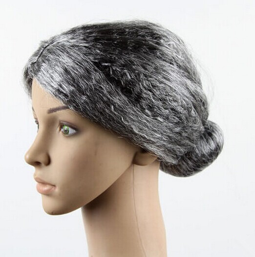 old lady wig black and white wig halloween costume wigs party wig costumes accessories old women performance props