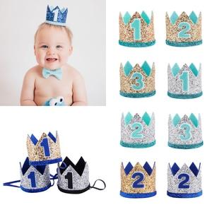2019 Kids Baby Headdress Prince Princess Crown Elastic Headwear Headband Photo Props Birthday Party Gifts Hair accessories(China)