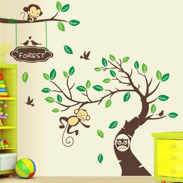 Monkeys Wall Sticker Kids Room Decoration Animals Tree Home Decals Bedroom  Art Diy Peel And Stick