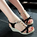 Mujeres verdadera del cuero genuino gladiador cuña de la plataforma sandalias de tacón alto sexy rhinestone de la manera de tacón alto zapatos de las señoras 34-39 K1898