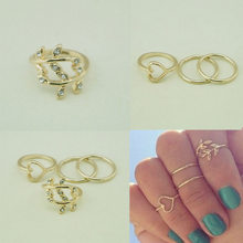 Charming Jewelery Fashion 4pcs/set Lovely Urban Crystal Leaf Heart Shaped Knuckle Rings Gold Silver Plated(China)