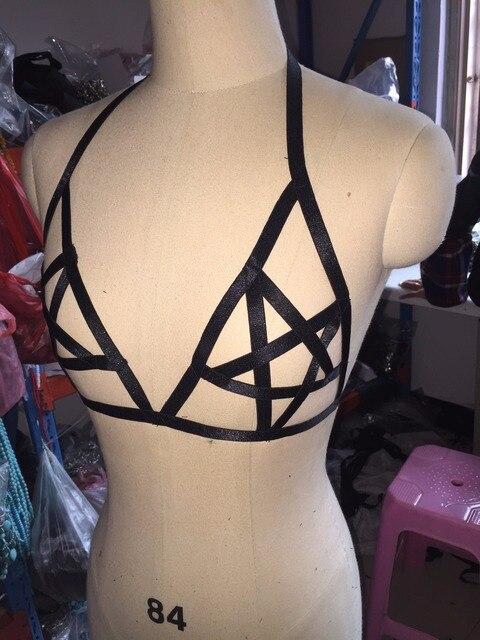 Pentagram Harnes Bra Goth Fetish Lingerie Burlesque Cage Top Pentacke   Occult Satanic Vamp