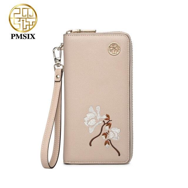 031b71508 Pmsix Bolsa Bordados de flores das Mulheres famosas marcas De Luxo Feminino  Embreagem Carteira Alta qualidade Casual longa zipper mulheres bolsa
