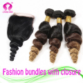 Malaysian Ombre virgin hair with closure 3 bundles with closure Natural color,3 tone loose wave hair bundles with lace closure