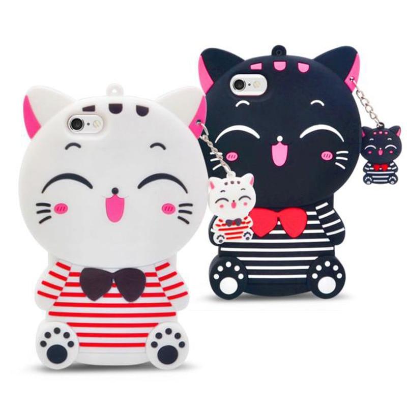 3D randig Lucky Cat mjuk silikon mobiltelefon fodral skal för iPhone - Reservdelar och tillbehör för mobiltelefoner
