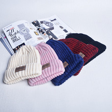 Winter parental thickening warm knitted hat Casual wild paste letters lovers knitted beanies