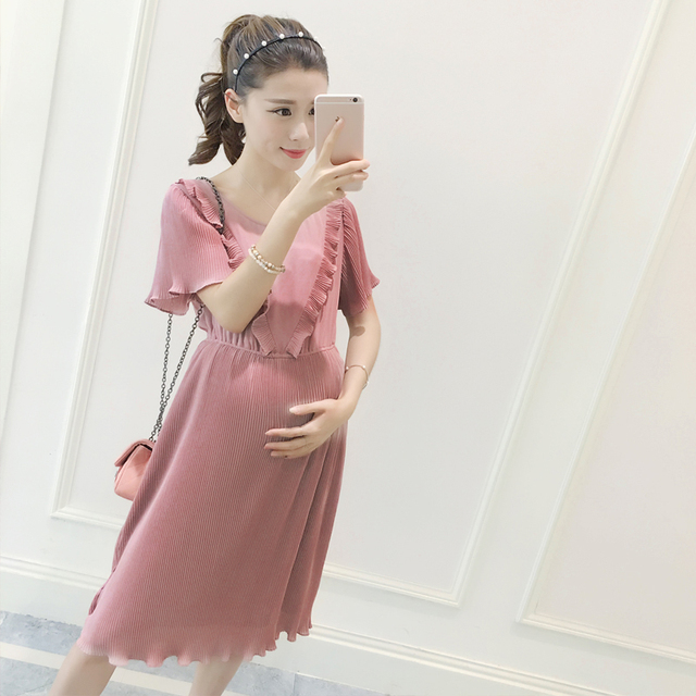 Summer Elegant Chiffon Pink Maternity dress Photography Props Loose dress  pregnant women clothes Fancy Pregnancy clothing 2cea68c327a7