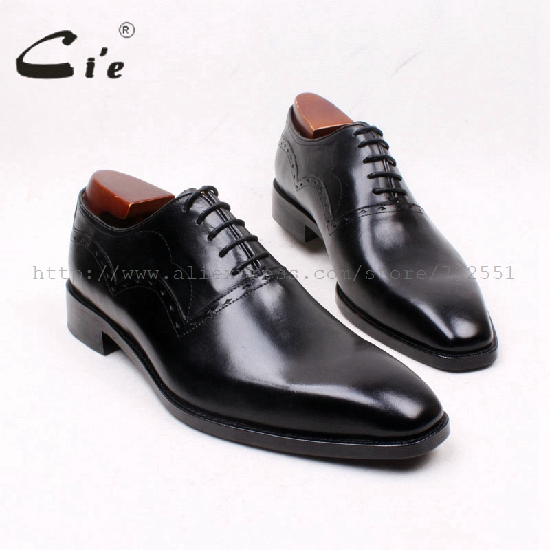 cie Square Plain Toe Lace-Up Solid Black 100%Genuine Calf Leather Outsole Breathable Men's Flats Oxfords Full Grain LeatherOX660 cie square cap plain toe lace up oxfords black 100