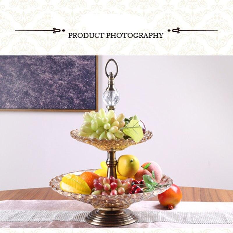 Style européen rétro maison salon cristal verre double couche fruits nourriture plateau KTV hôtel doux décoration artisanat placé