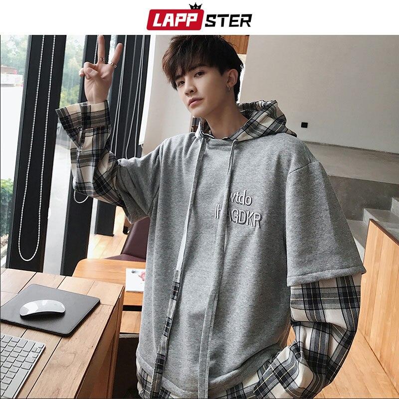 LAPPSTER Men Streetwear Plaid Hooded Hoodies 2020 Man Patchwork Embroidery Harajuku Sweatshirts Male Hip Hop Fashions Hoodies