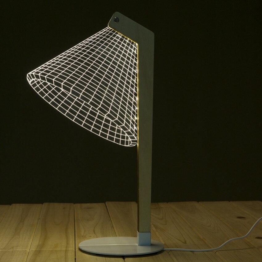 Novelty 3D Desk Light Wood Table Lamp LED Reading Luminous Lamp Lampshades 3D Optical Illusion Night Light Home Decoration