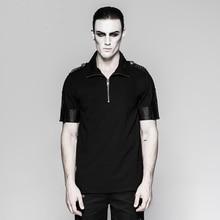 Gothic Men's Military Uniform Sniper T-Shirt Visual Kei Steampunk Black Short Sleeve O-Neck Tee Shirt Tops