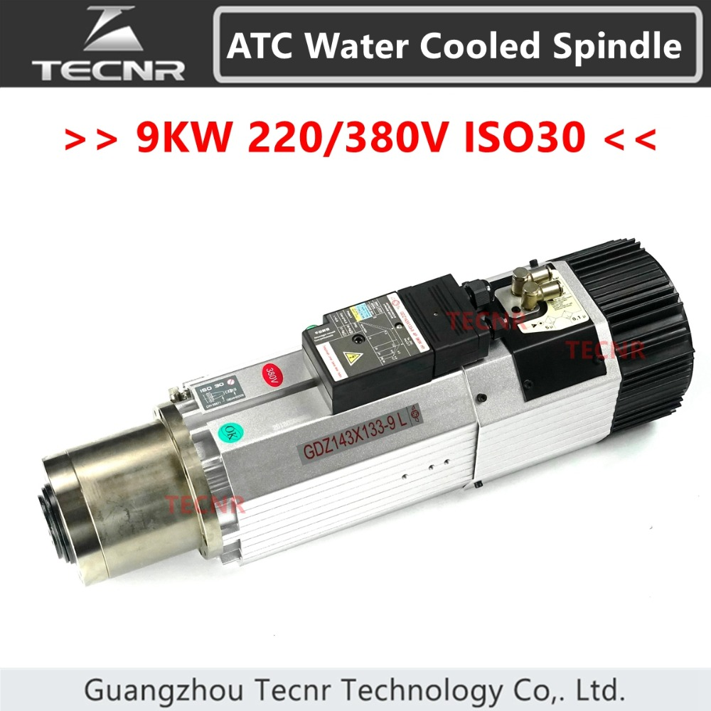 Automatic Tool Change spindle 9KW 380V ATC air cooled spindle motor ISO30 12000 - 24000RPM for woodworking cnc router 9kw 24000rpm 380v 220v long head iso30 atc air cooled automatic tool change spindle