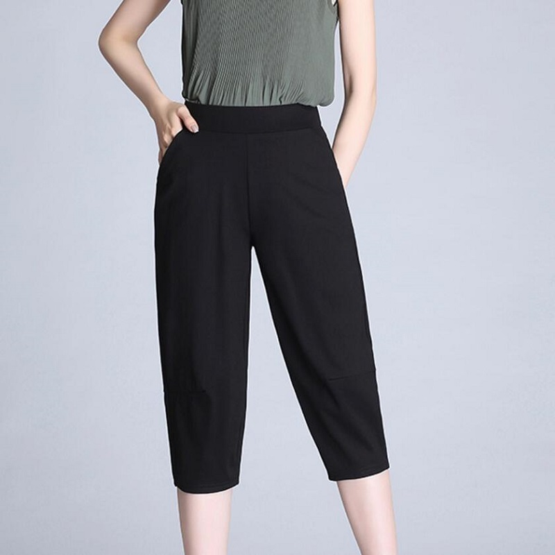 2019 Women Stretch Waist Casual   Pants     Capris   Women Pencil   Pants   black   capris   Plus Size Harem   Pants   Female LY347