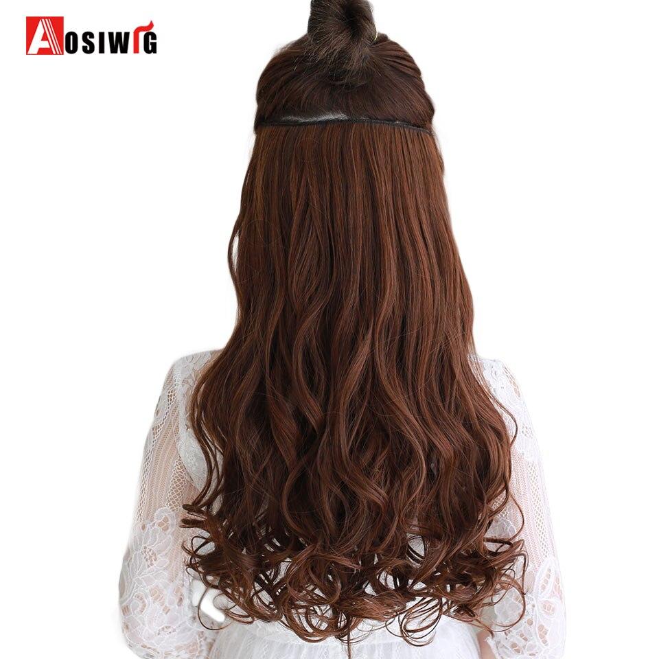 AOSIWIG Olika storlekar Långt vågigt 5 Klipp i hårförlängningar - Syntetiskt hår - Foto 1