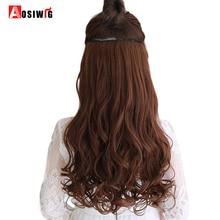 AOSIWIG Різні розміри Длинна хвиляста кліп 5 у затяжках для волосся Теплостійкі природні синтетичні підвіски Шкіряні фальшиві волосся