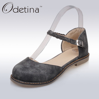 Odetina 2017 New Fashion Women Casual D Orasy Flats Mary Jane Shoes Flat Comfortable Buckle Ankle
