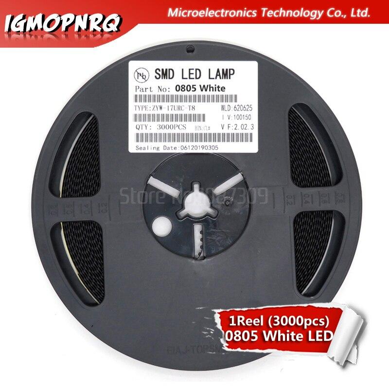 1reel 3000pcs White 0805 SMD LED Diodes Light