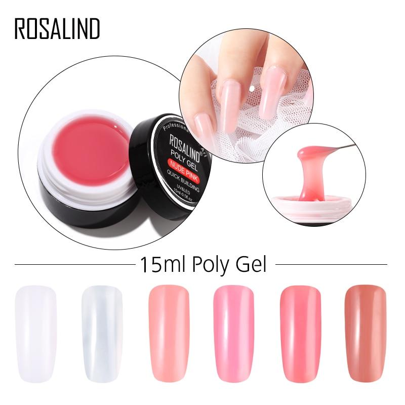 d0518567f ROSALIND 15 ml Builder Gel de polietileno para uñas del dedo de cristal de  esmalte de uñas Semi Vernis permanente UV LED gel laca