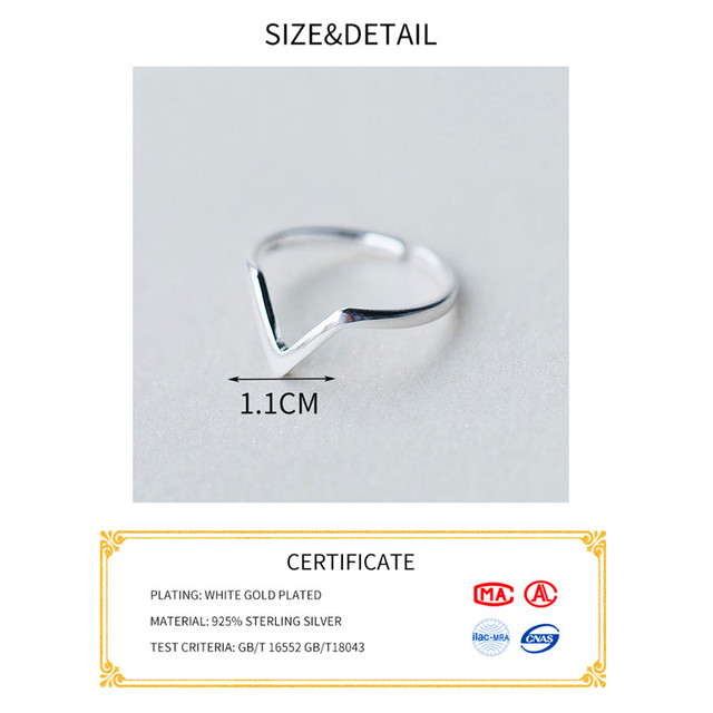 INZATT Real 925 Sterling Silver Geometric Wave Letter V Adjustable Ring Fine Jewelry For Women Party Personality Accessories 4