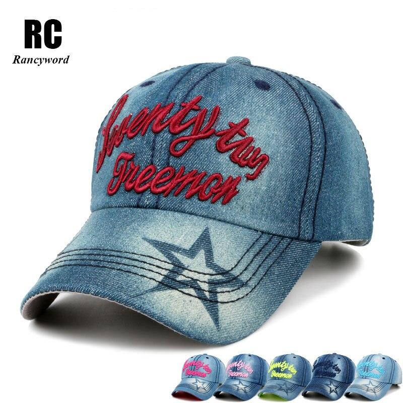 [Rancyword] Women's New Letter Embroidery Cowboy hat Baseball Cap Sanpback Hats For Women Denim Jeans hat Hip Hop RC1049 2016 new autumn winter womens wool fedora hat wide brim cowboy panama jazz hats