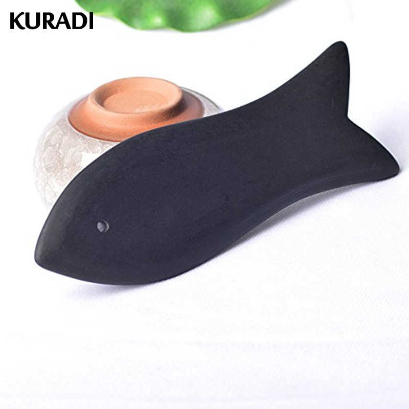 Black Fish Shape Bian Scraper Stone Chinese Guasha Board Energy Gua Sha Board Acupuncture Massage Relaxation Health Beauty Care