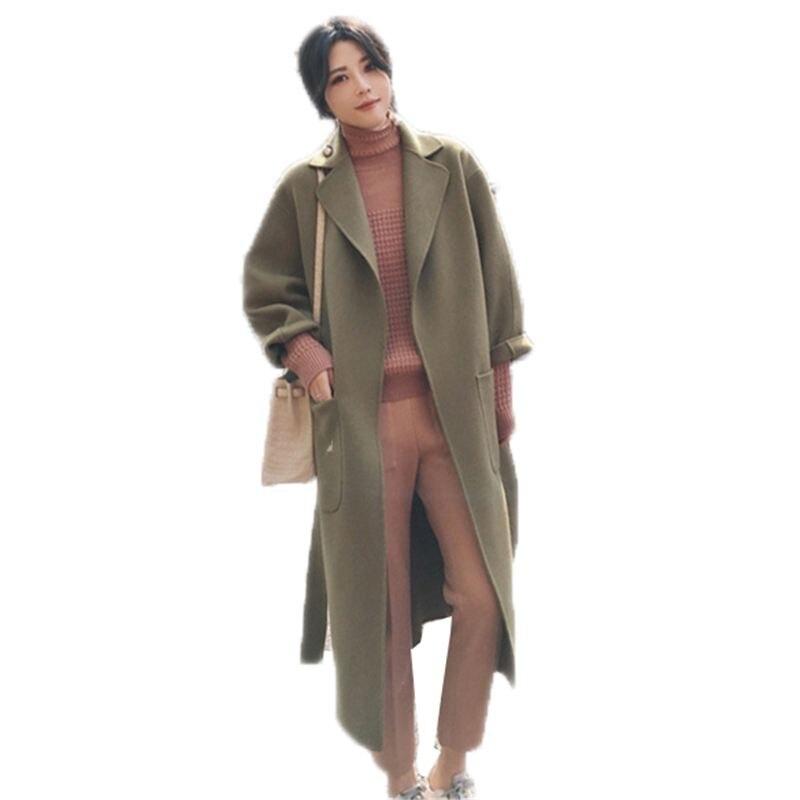 2018 O263 Col Long Ceinture Lâche Hiver Femelle down Dame Laine Réglable Survêtement Bureau Manteau Jiemolvse Mélanges jianghuangse Taille Femmes Turn Simples grwSUc1Fg