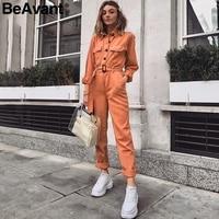 BeAvant Casual cargo cotton ladies overalls Orange sash pocket sport womens jumpsuit romper Chic autumn winter female jumpsuits