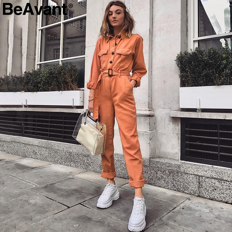 BeAvant Casual cargo cotton ladies overalls Orange sash pocket sport womens   jumpsuit   romper Chic autumn winter female   jumpsuits