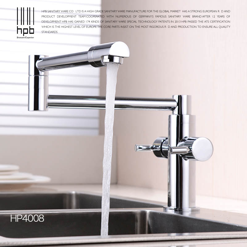 HPB Brass Morden Kitchen Faucet Mixer Tap Bathroom Sink Faucet Deck Mounted Hot and Cold Faucet Torneira de Cozinha HP4008 jooe kitchen faucet chrome single cold water tap deck mounted kitchen sink faucet torneira de cozinha robinet cuisine banheiro