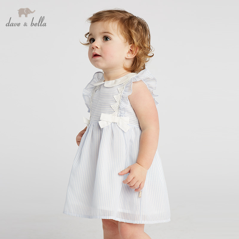 DB10360 dave bella summer baby girls princess cute bow striped dress children fashion party dress kids infant lolita clothesDB10360 dave bella summer baby girls princess cute bow striped dress children fashion party dress kids infant lolita clothes