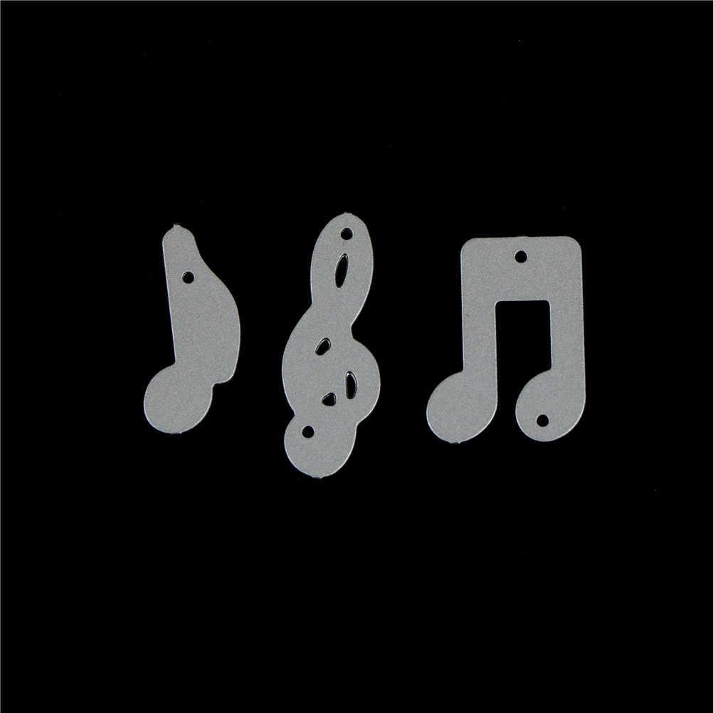 Musik Yang Indah Catatan Desain Metal Cutting Dies Stensil untuk Diy Scrapbooking Foto Album Dekoratif Embossing DIY Kertas Kartu 3Pcs