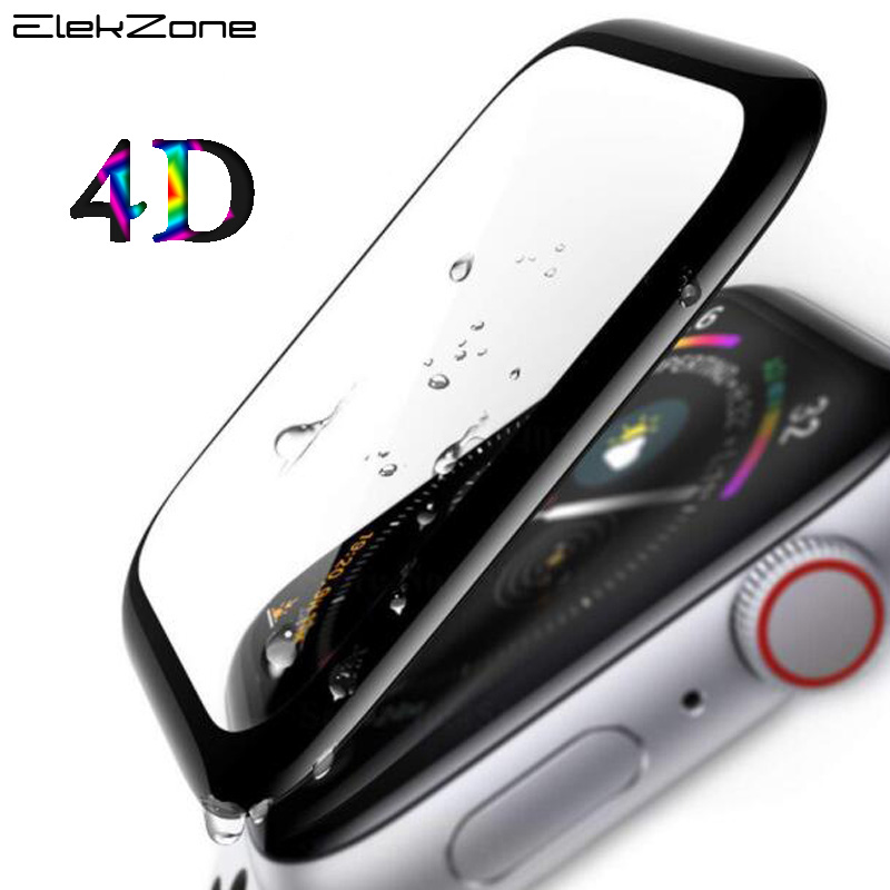Full Coverage 4D For i Watch 44 40 mm Series 4 Tempered Glass For Apple Watch