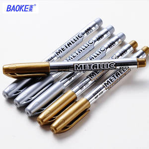 Baoke Metallic Permanent Marker Pens Sliver Gold Metal Craftwork Pens Color Paint Sharpie for Card Leather Stone Windows Drawing