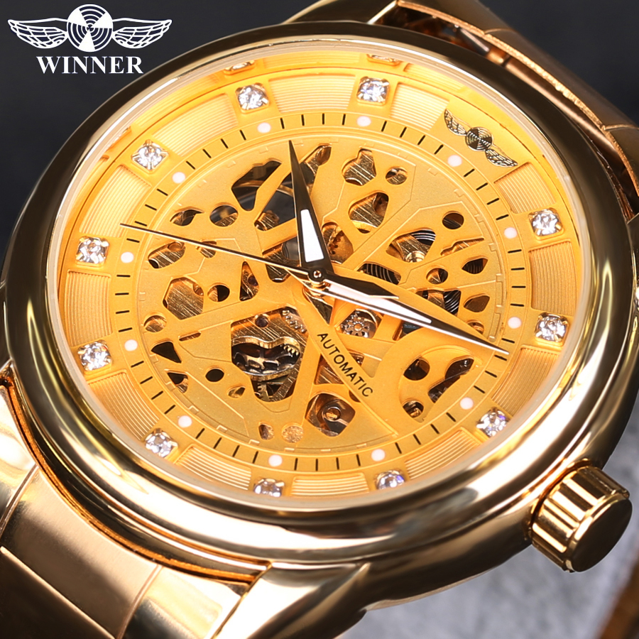 WINNER Men Watch Brand Luxury Automatic Self-Wind Male Golden Skeleton Watch Full Steel Diamond Mechanical Wristwatches Clock fashion men mechanical hand wind watches men skeleton stainless steel wristwatches for male luxury golden watch men