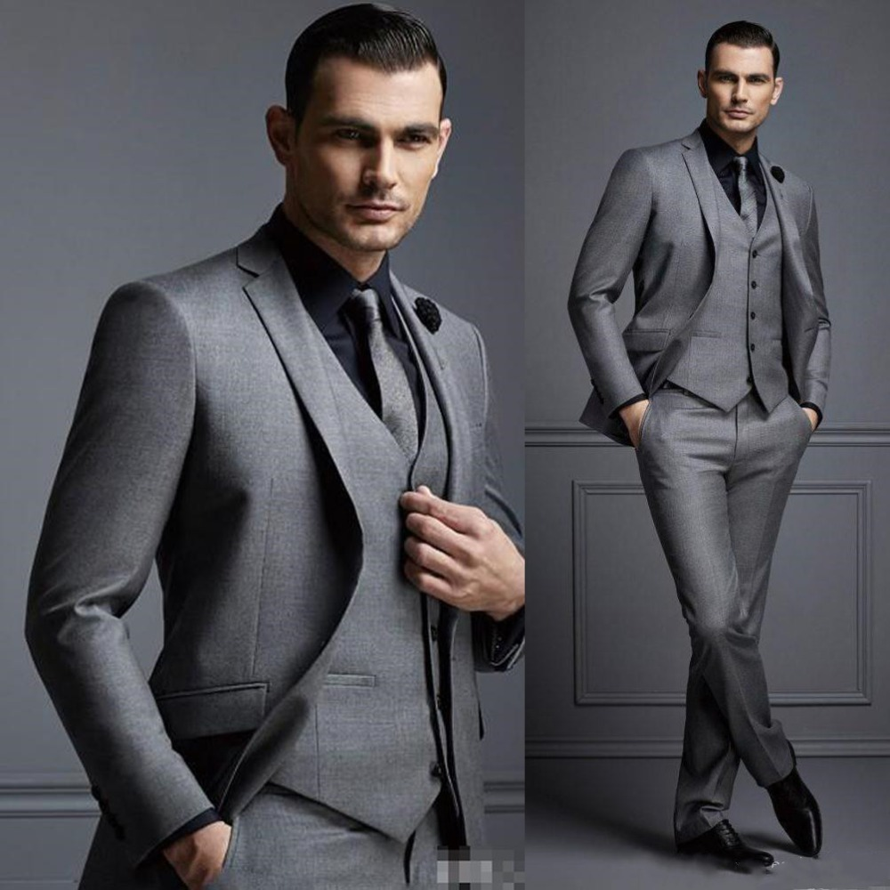 New Grey Mens Suit Groom Suit Cheap Formal Man Suits For Wedding Best Men Slim Fit Groom Tuxedos For Man(Jacket+Vest+Pants)terno