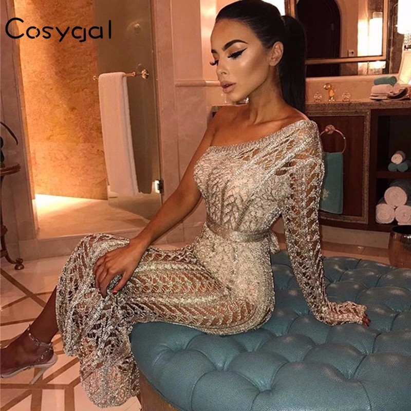 c1d33d914d10 Detail Feedback Questions about COSYGAL New Sexy Dress Summer One Shoulder  Knitted Long Dress Hollow Out High Slit Night Club Wear Ankle length Party  ...